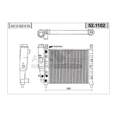 Engine cooling radiator - Fiat Duna / Fiorino / Uno