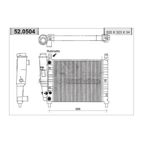 Engine cooling radiator - Fiat Fiorino / Uno