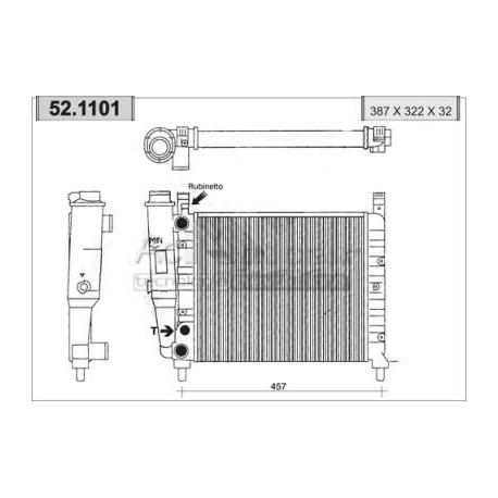 Radiateur d'eau moteur - Fiat Uno 55 / 55 S / 60 S /60 SL