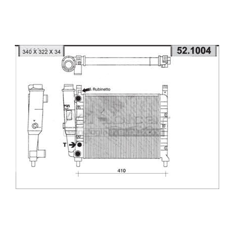Engine cooling radiator - Fiat Uno 45 i.e /45/S/SL/SX/Champ