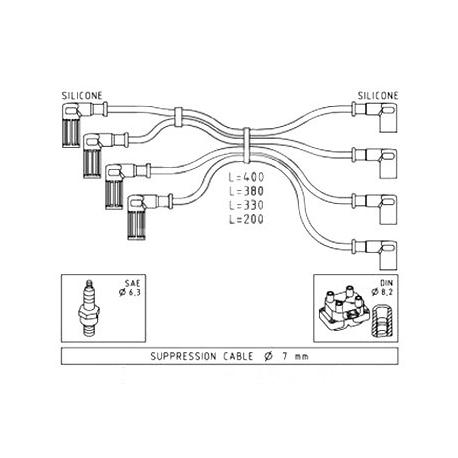Ignition cable set - Fiat Cinquecento/Seicento/Panda