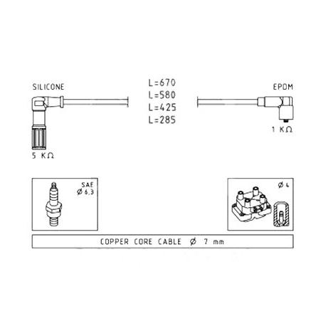 Ignition cable setFiat Tempra/Tipo / Lancia Dedra/Delta