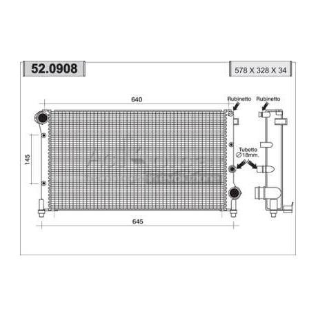 Engine cooling radiator - Nouvelle Fiat Panda 1,3 Multijet 16V