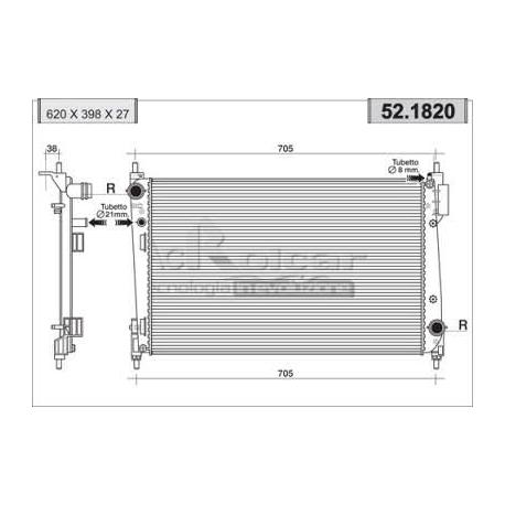 Engine cooling radiator - Fiat Grande Punto 1.3 Multijet 16V