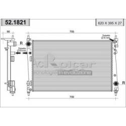 Engine cooling radiator - Fiat Grande Punto 1.3 Multijet 16V / 1.9 JTD 8V