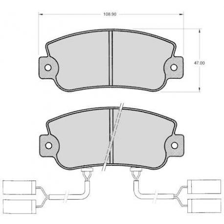 """Set of 4 front brake pads """"BENDIX"""" - Alfa Romeo 33"""