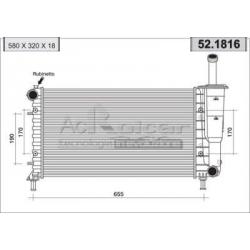 Engine cooling radiator - Fiat Idea / Punto II