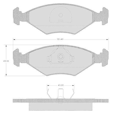 """Set of 4 front brake pads """"ATE""""- Fiat Fiorino 1.7 D - 1.6"""
