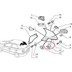 Luggage lid rubber pad - Alfa Romeo / Fiat / Lancia