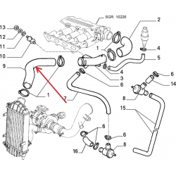 Upper radiator hose - Lancia Thema
