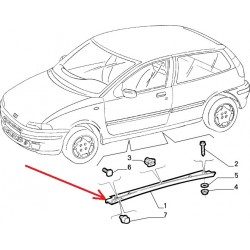 Right lower door molding - Fiat Punto Sporting (1993 -- 1997)