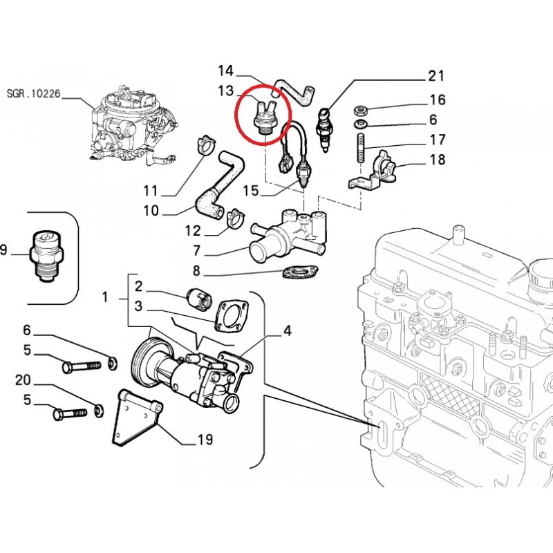 Fiat seicento 187 1.1 variante 1 genuine fahren pompe à eau refroidissement du moteur