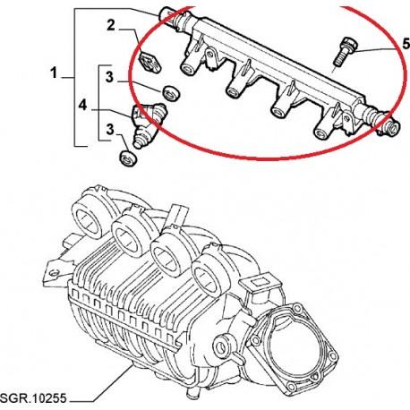 Fuel injector rail - Fiat / Lancia (engine 1,8 16V)