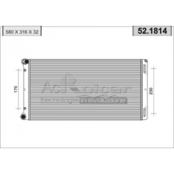 Engine cooling radiator - Fiat Punto II 1,9 D / 1,9 JTD